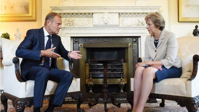 Theresa May could begin Brexit process by February, says Tusk