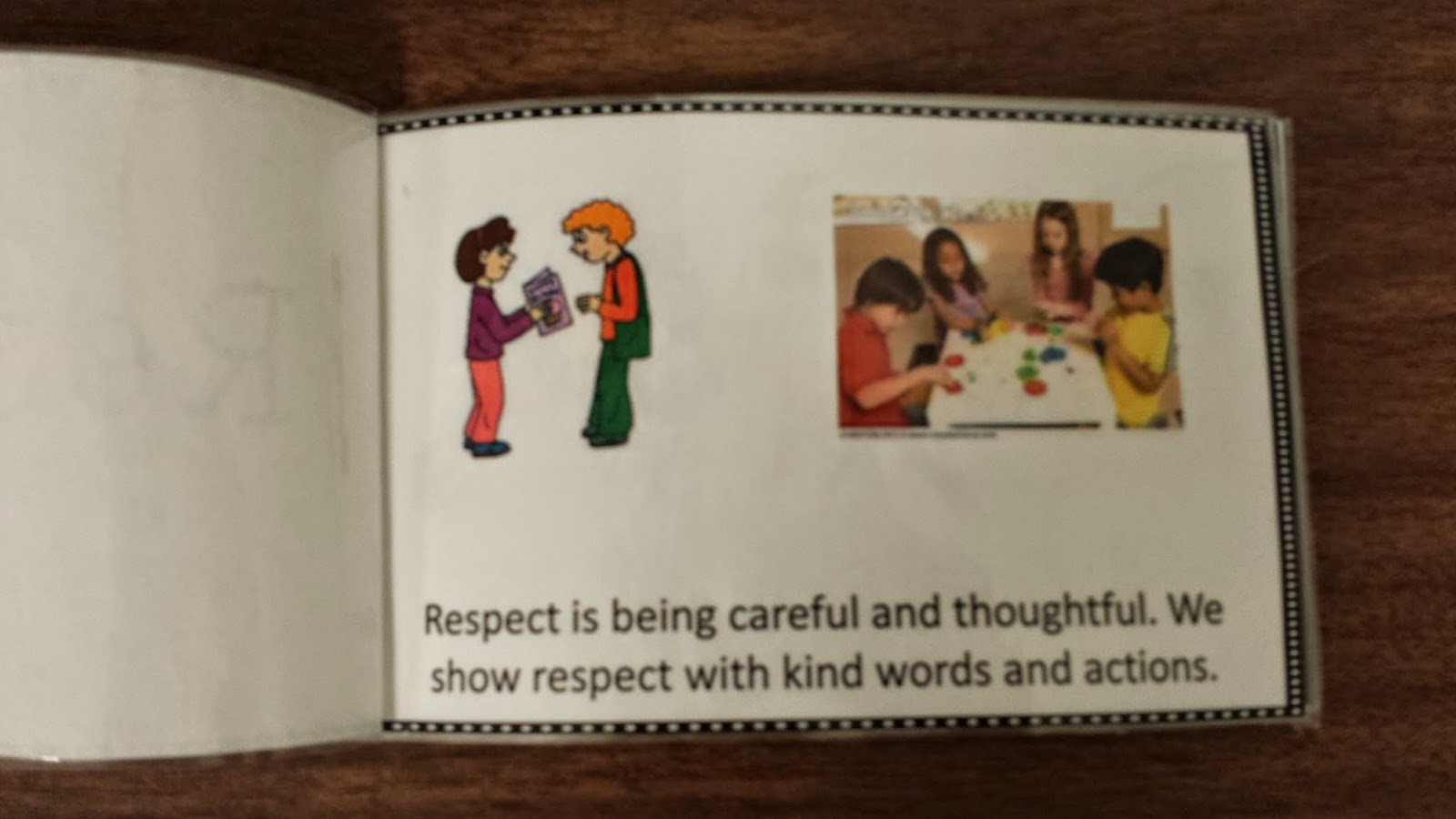 Photo of a page in the social story about respect.