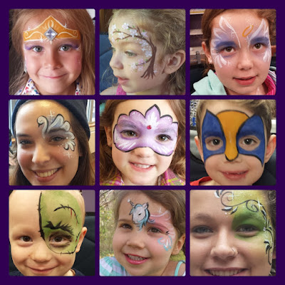 princess crown, cherry tree, angel, swan, carnival mask, wolverine, zombie, unicorn, swirls face paint