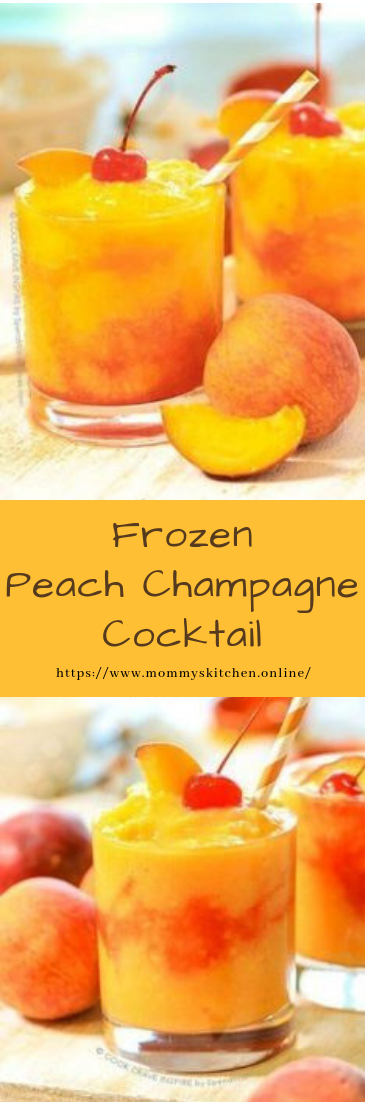 Frozen Peach Champagne Cocktail #cocktail #recipe