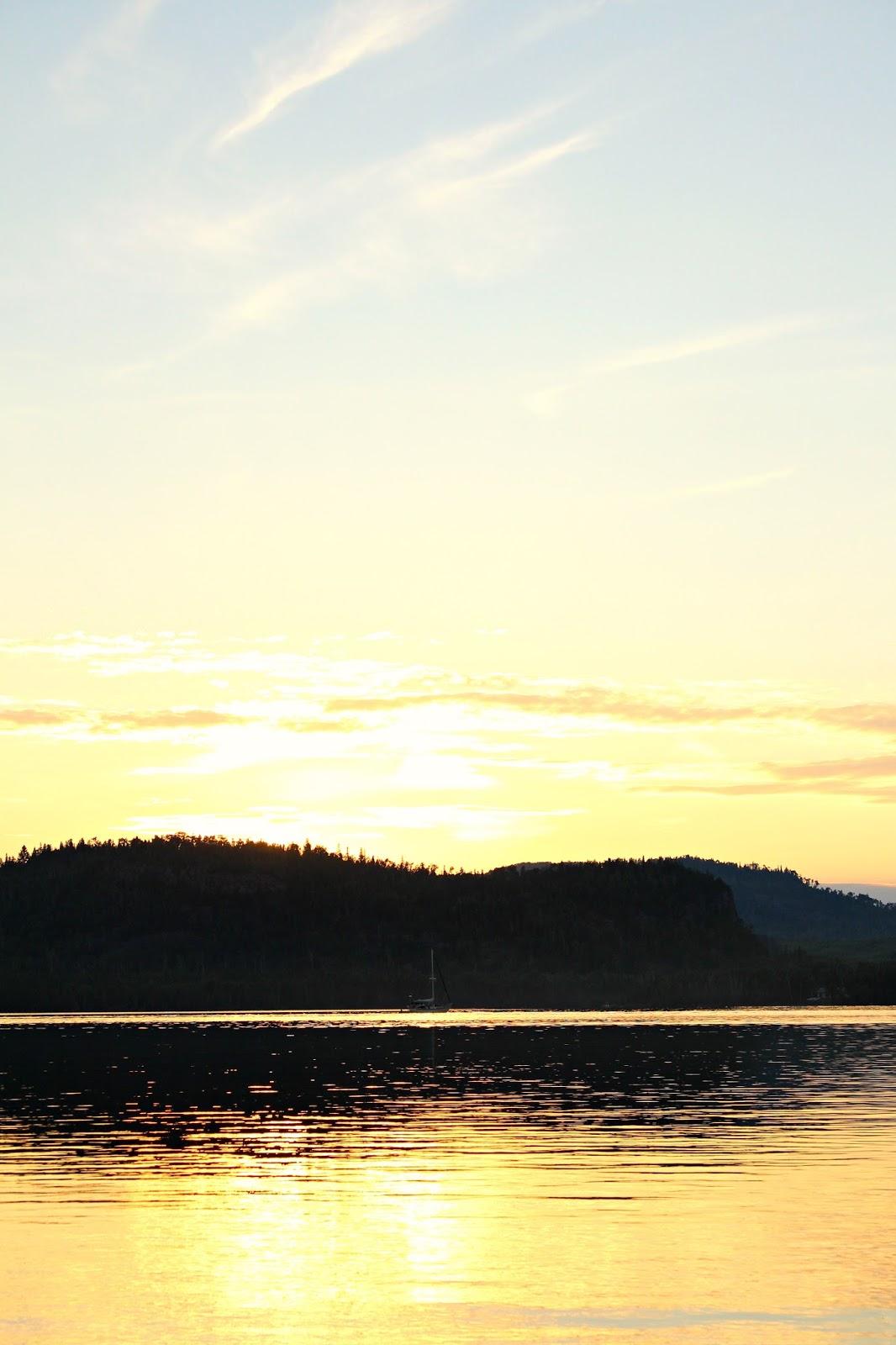 Lake Sunset with Sailboat