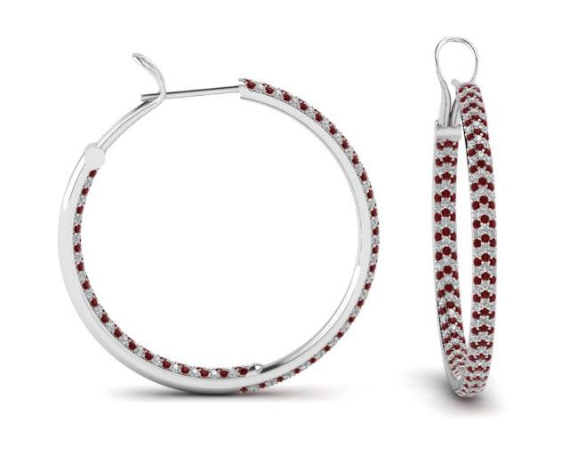 Red Diamond Hoop Earrings