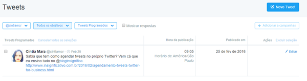 Twitter Ads - Visualizar tweets programados.