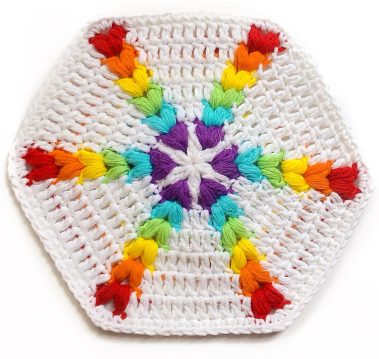 Free crochet pattern rainbow puff hexagon