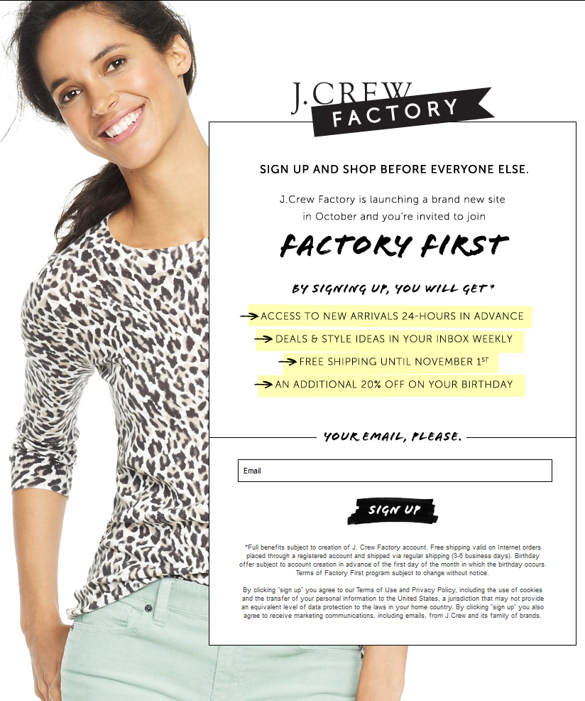 j crew factory email sign up