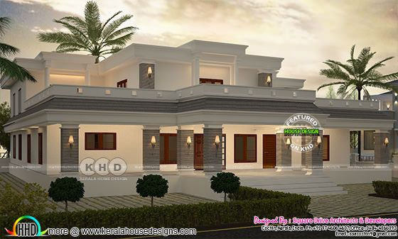 Flat roof 5 bedroom house architecture