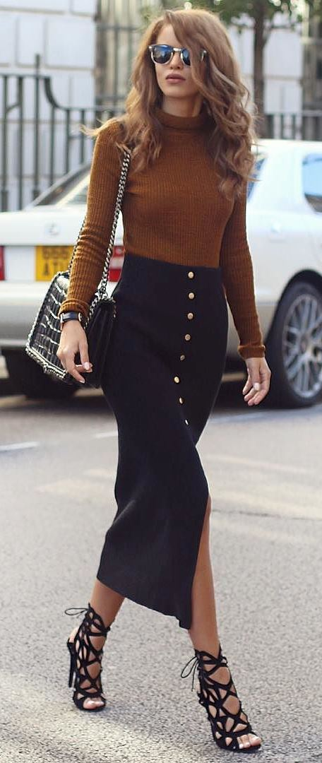 trendy office style outfit: top + bag + skirt + heels