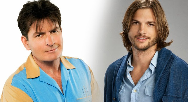 two and half a men. Asthon Kutcher vs. Charlie Sheen