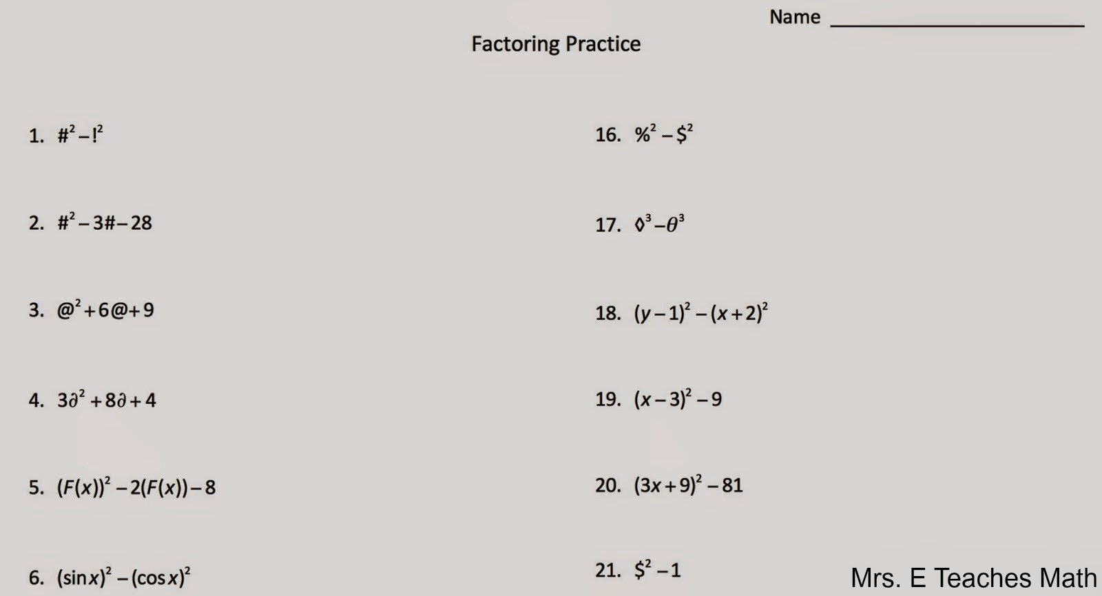 Mrs. E Teaches Math: Factoring with Symbols