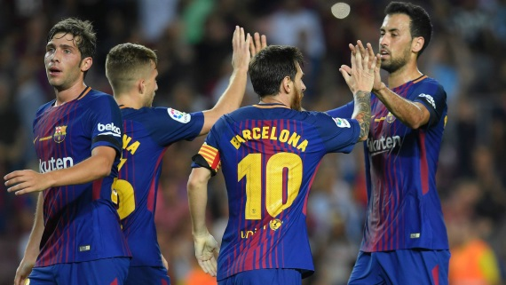 Barcelona players celebrating a goal