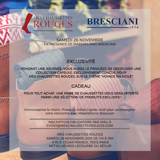 Bresciani at Mes Chaussettes Rouges. The event. November 26th, 2016