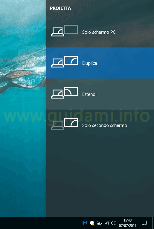 Windows 10 menu laterale Proietta schermo