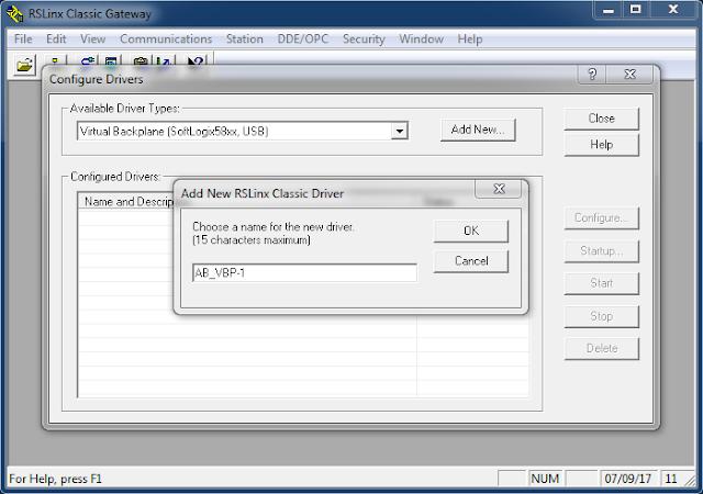 Elegir el nombre del driver de comunicación RSLinx Classic