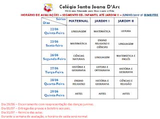 Avaliações da Educação Infantil 2º Bimestre CSJD.