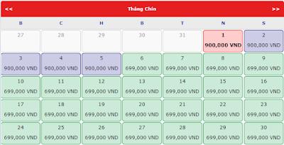 Giá vé máy bay đi Hà Nội tháng 9 hãng Vietjet Air