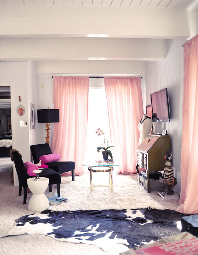 Home office sitting area, black, white, pink, gold