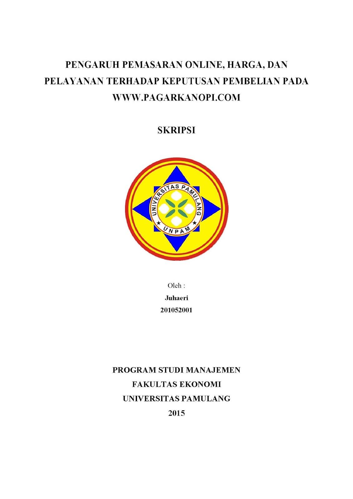 Cover Depan Skripsi Manajemen Unpam Skripsi Unpam
