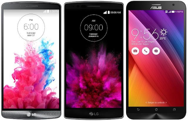 LG G3 vs LG G Flex 2 vs Asus Zenfone 2 ZE551ML