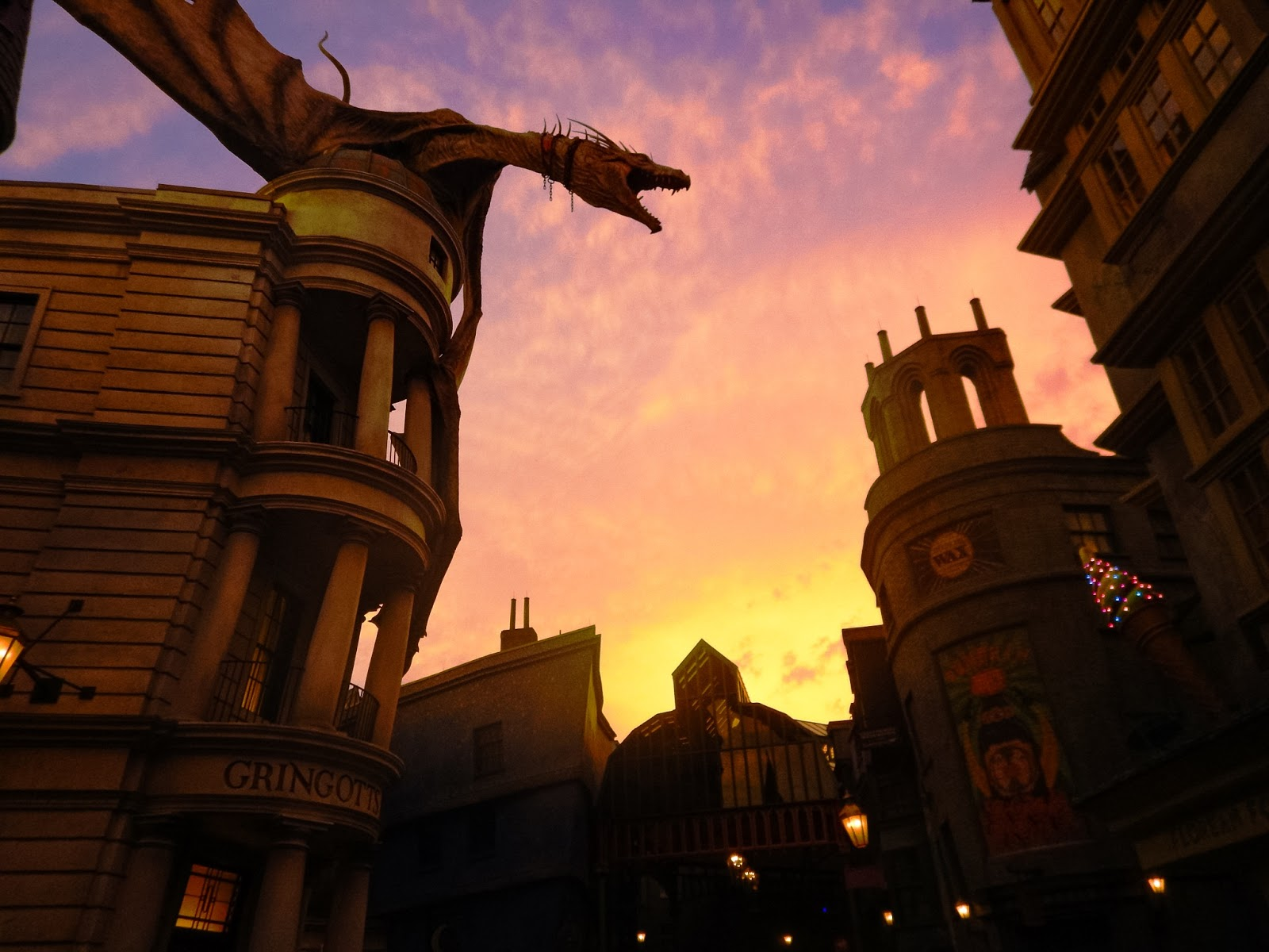 wizarding world of harry potter at sunset