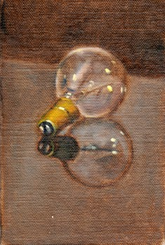 Oil painting of a small incandescent light bulb and its reflection in a glass table top.