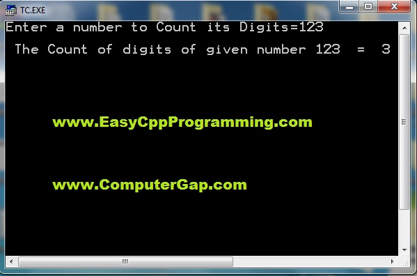 C++ Program to count number of digits in a given number sample run output