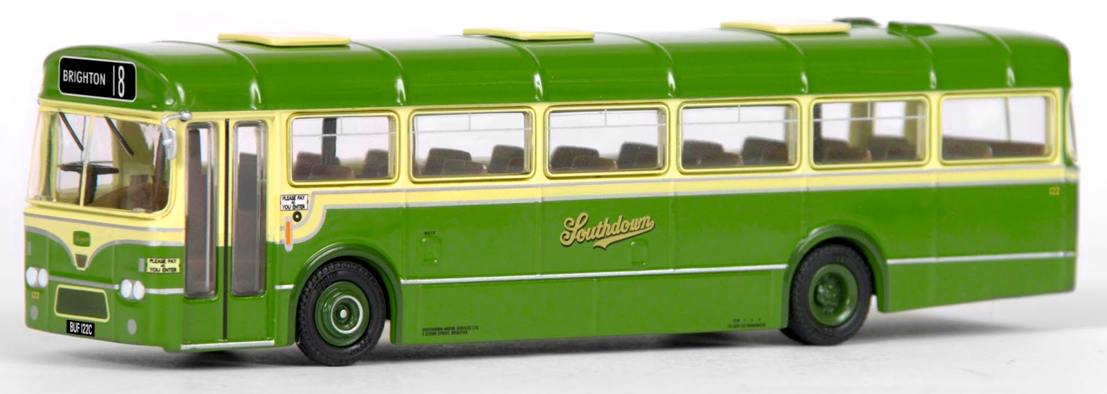 EFE 35308 - 36' BET 6 Bay Leyland Leopard - Southdown Our model depicts the preserved 36' Marshal bodied Leyland Leopard BUF 122C, which first entered service with Southdown in 1965. Decorated in the classic livery, numbered 122 and shown working on route 18 to Brighton. Each model will be issued a numbered certificate in a unique Southdown Ticket design.