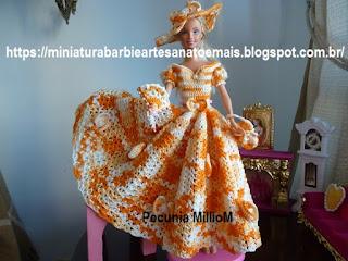 Vestido de Crochê da Bela e a Fera Para Barbie Com Acessórios - Modelo Bouton D'Or