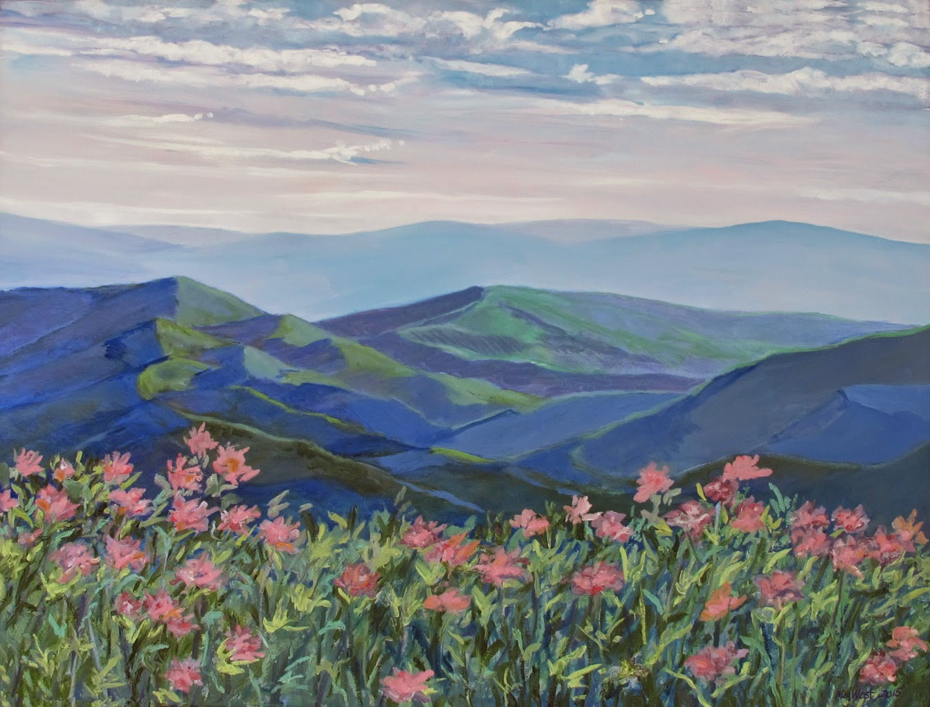 A Studio Painting From Photograph I Took Few Years Ago Up On The Blue Ridge Parkway In May Wild Rhododendrons Grow All Around Area