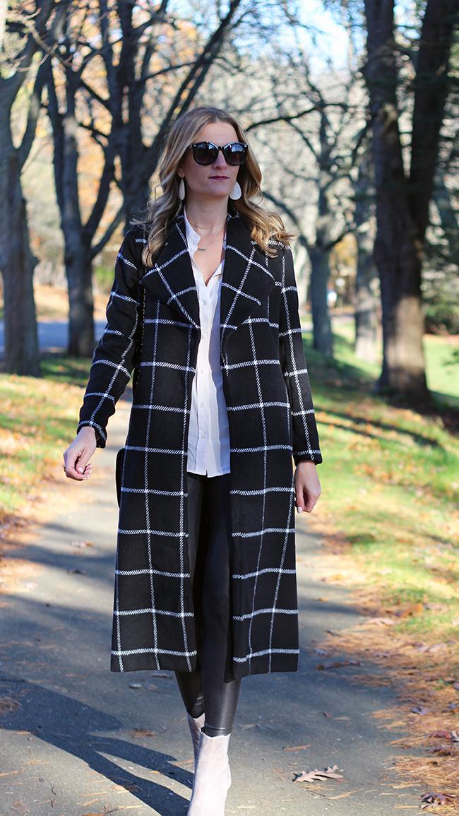 Grid Pattern long coat