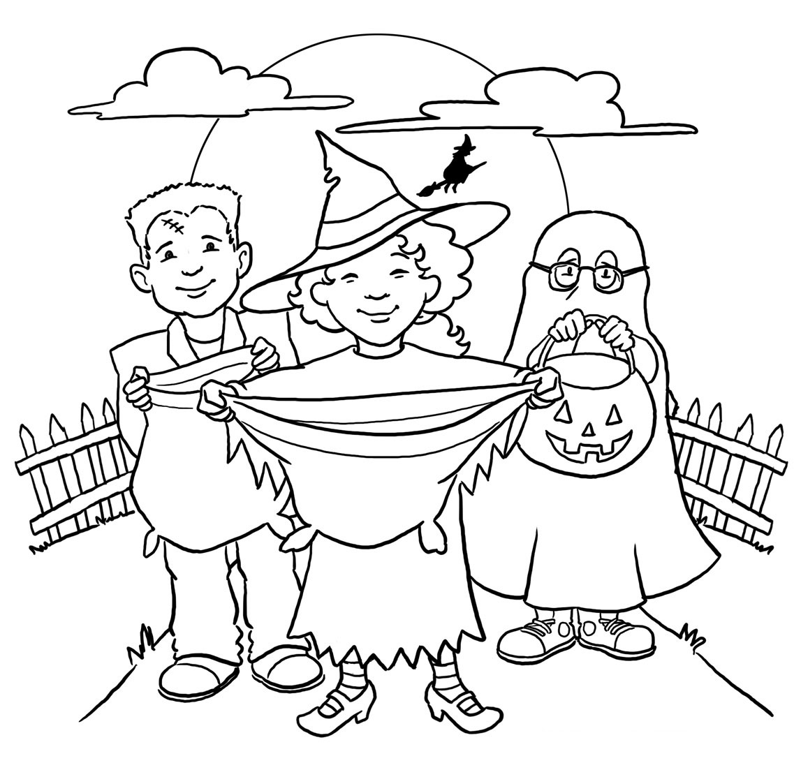 Halloween Coloring Pages Trick Or Treat Coloring Pages