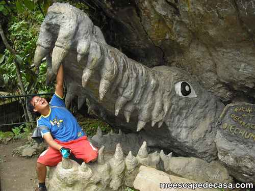 El Caminante simulando una lucha con un caimán de piedra en el Centro Turístico del Río Tioyacu (Rioja, Perú) 3