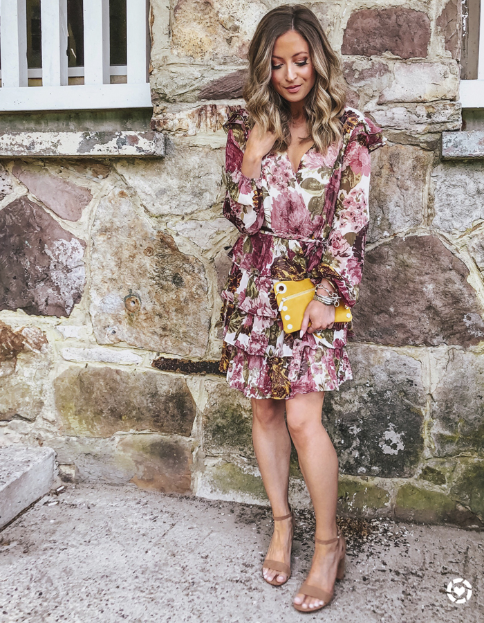 wayf floral ruffle dress