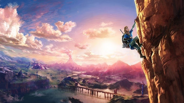 Link escala uma montanha na nova arte de The Legend of Zelda: Breath of Wild onde a Nintendo nos felicita com o dia do Halloween.