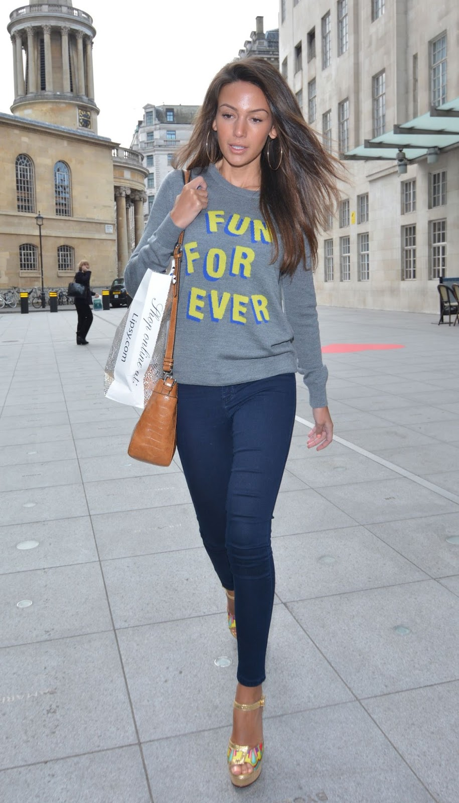 Michelle Keegan in Blue Jeans Out and About in London