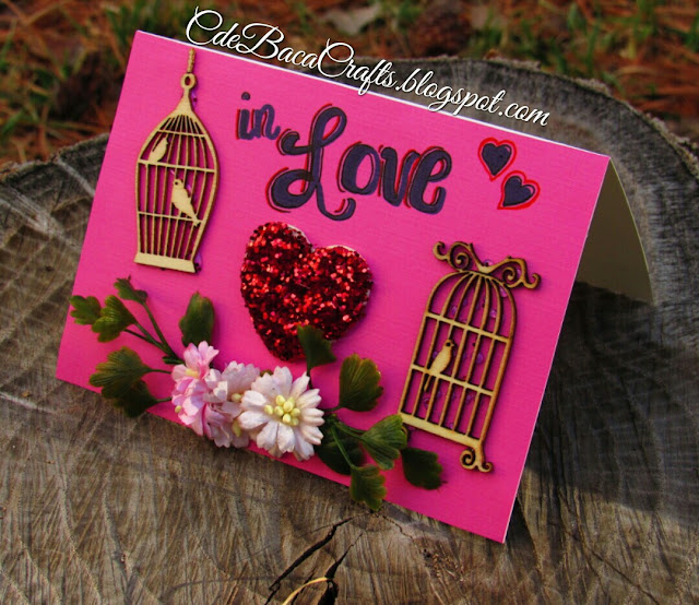 Handmade Valentine's Day card example shown on CdeBaca Crafts gallery blog.