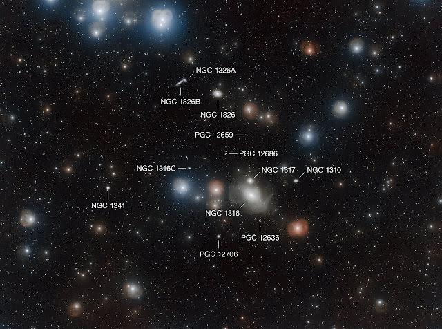 Thiên hà NGC 1316 bên trong Cụm Thiên hà Fornax, tại ranh giới của chòm sao Fornax và Eridanus. Hình ảnh: ESO/A. Grado and L. Limatola.