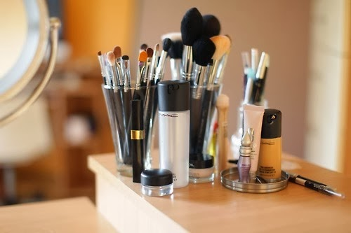 Image result for makeup in clear glass cups