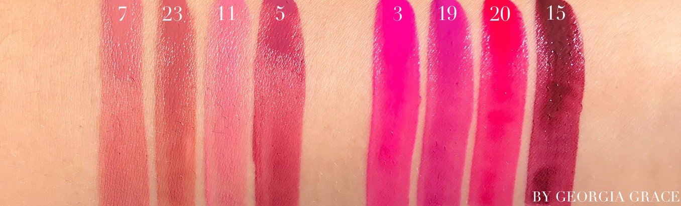 ysl rouge tatouage matte lip stain swatches review photos lip swatches all colors nu interdit singular taupe rose illicite rosewood gang