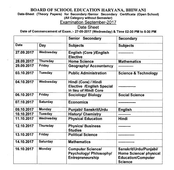 Haryana open School (HOS) 10th class date sheet September ...