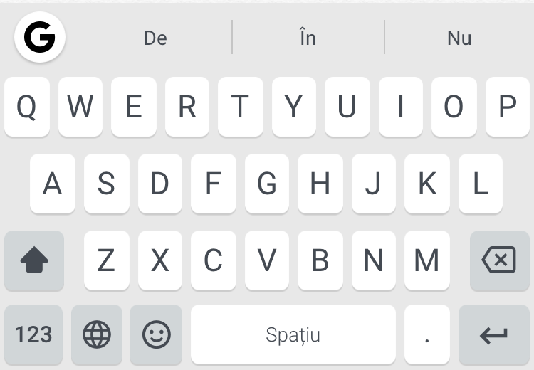 iPhone Gboard Romanian keyboard