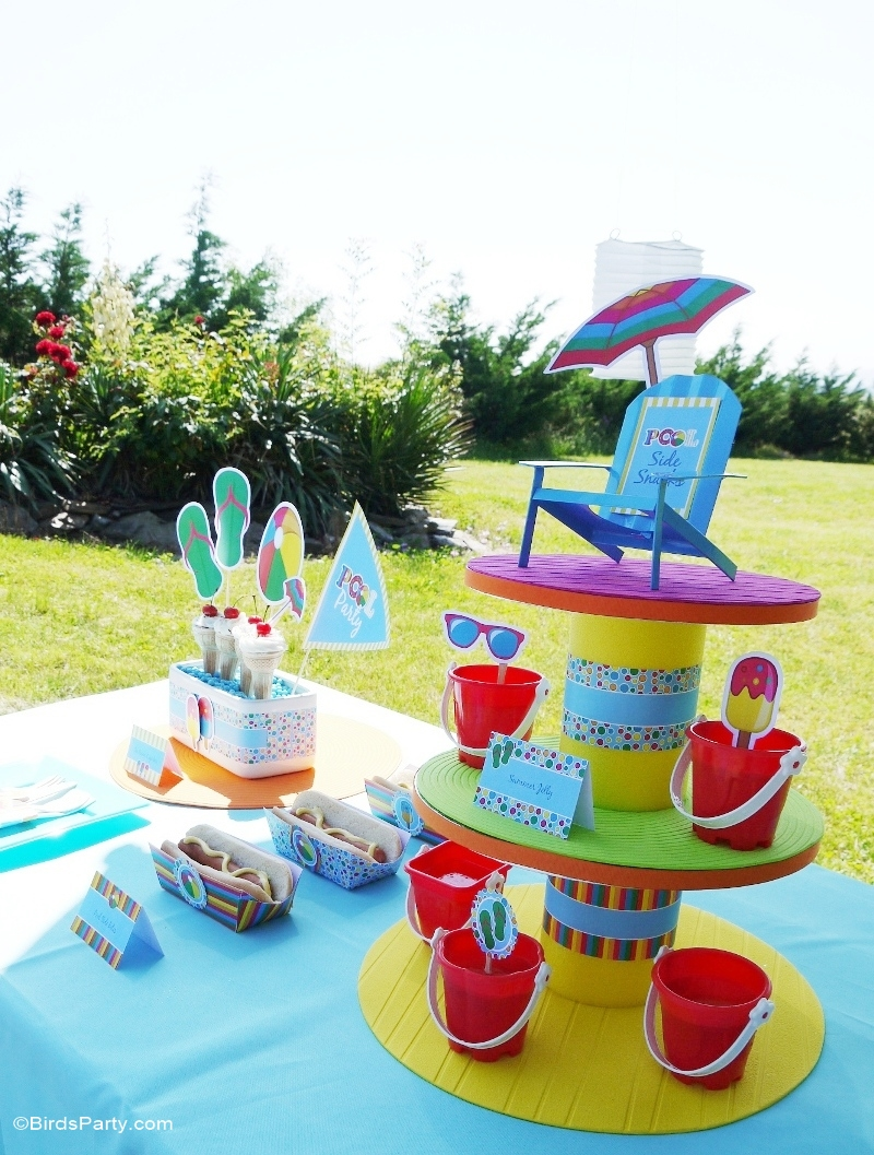 Pool Party Ideas & Printables Kids Summer Birthday  - BirdsParty.com