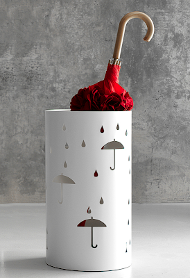 umbrella stand decorated with umbrellas and raindrops