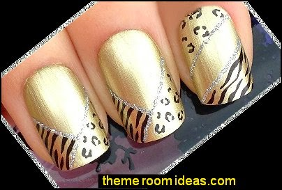 leopard tiger animal print Nail art water transfers stickers decals
