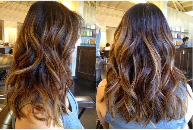 Long Layer hair cut style brunette caramel highlights warm}
