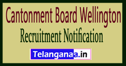 Cantonment Board Wellington Recruitment Notification
