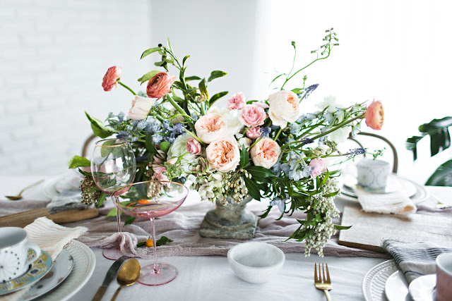 Anthrpologie Tablesetting campaign for Spring with Gilded Rim Coupe
