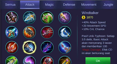 penambah attack speed dan movement speed