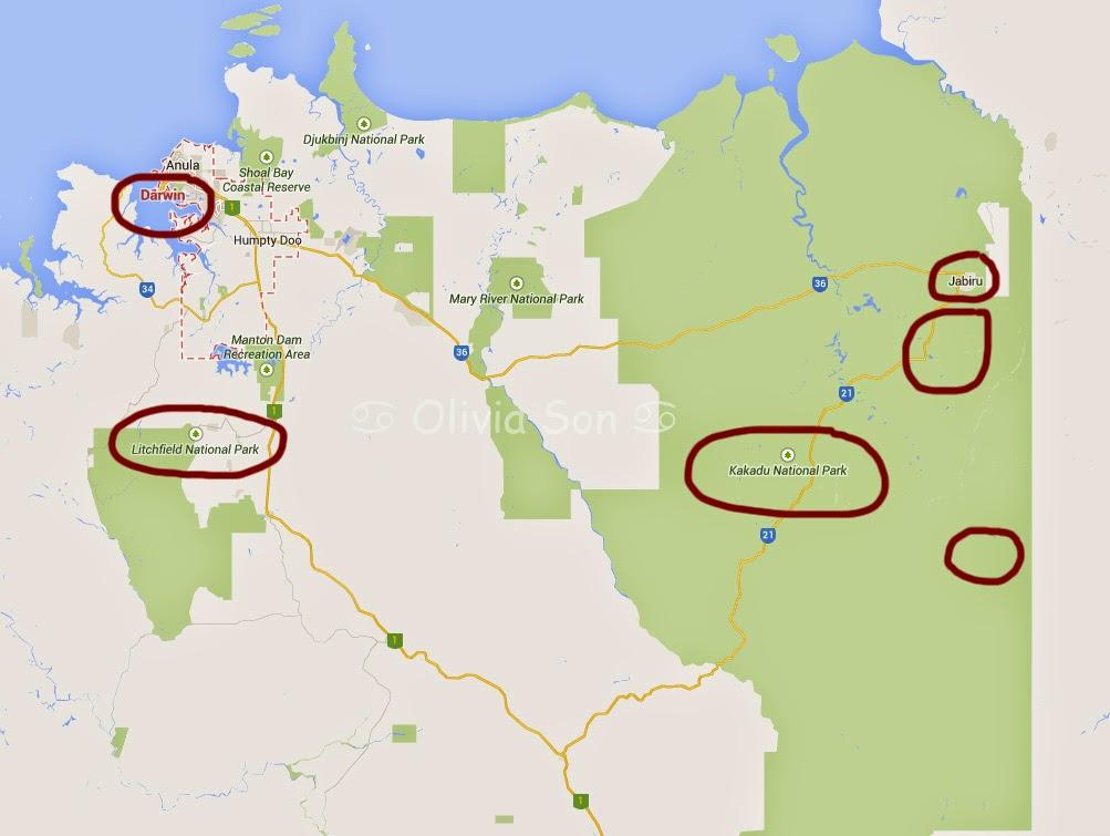 Carte Kakadu National Park, Northern Territory, Australie