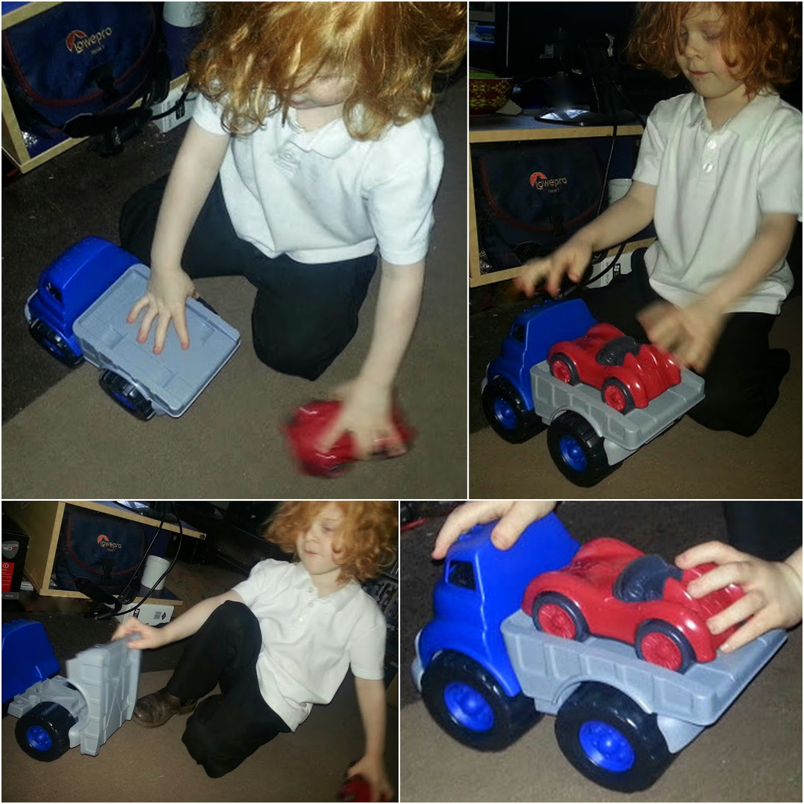 4 year old brumming with his cars on the carpet