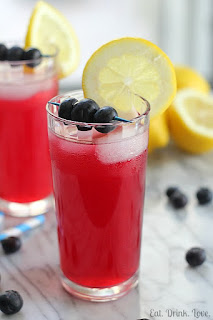 berry blue lemonade in summer